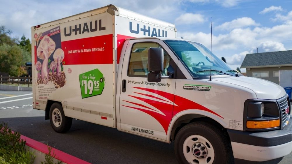 frontal view of a u-haul moving truck