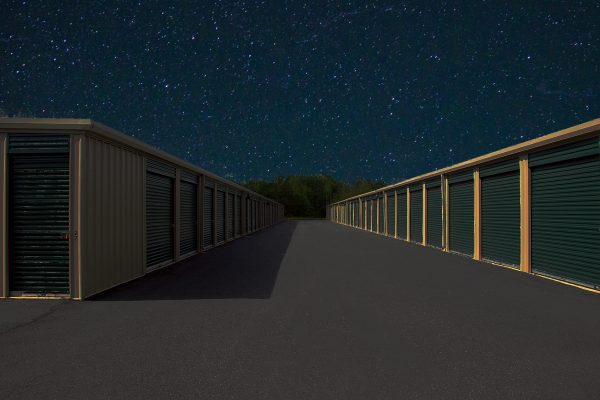 storage facility at night